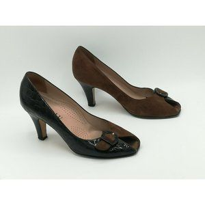 ANYI LU Made in Italy 2 Toned Black Croc/ Suede